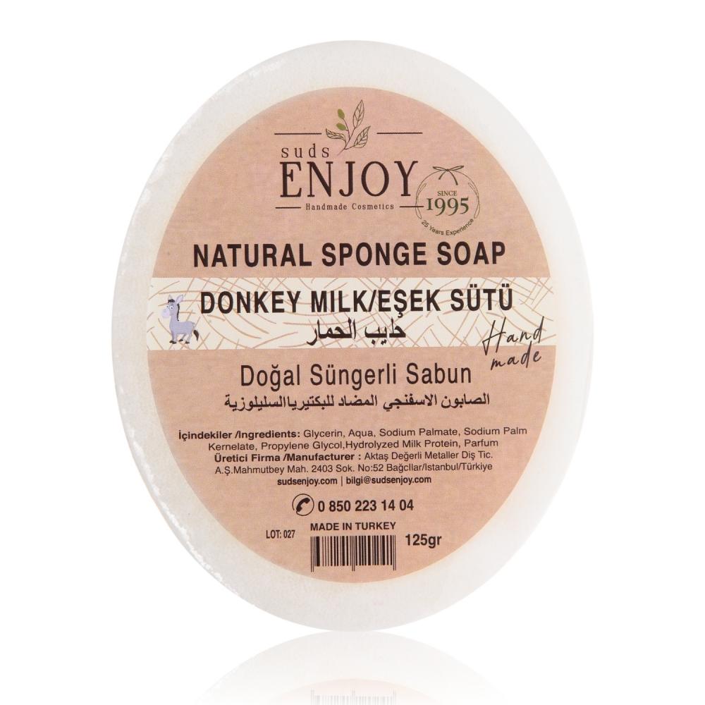 Doğal Eşek Sütlü El Yapımı Süngerli Duş Sabunu