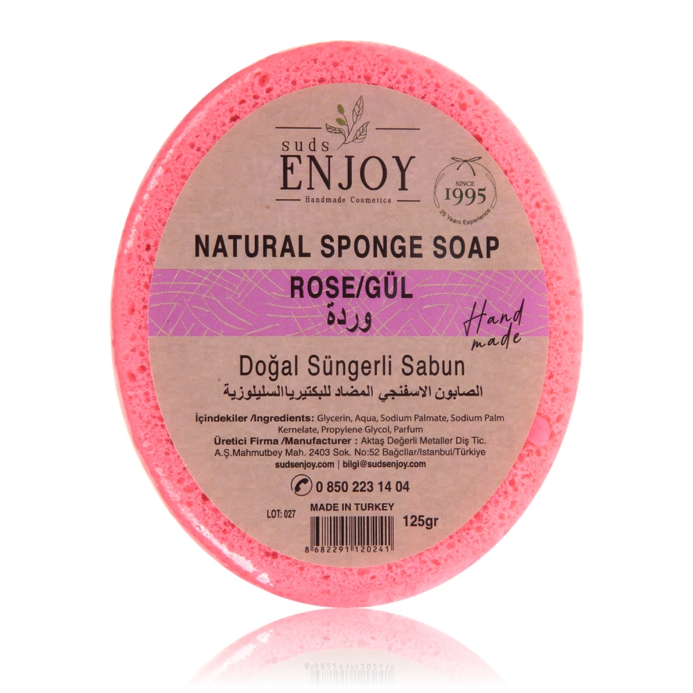 Natural Rose Handmade Sponge Shower Soap