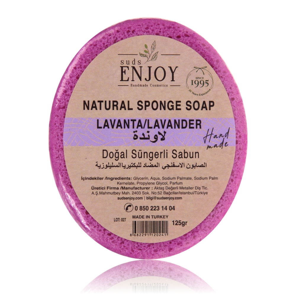 Natural Lavender Handmade Sponge Shower Soap