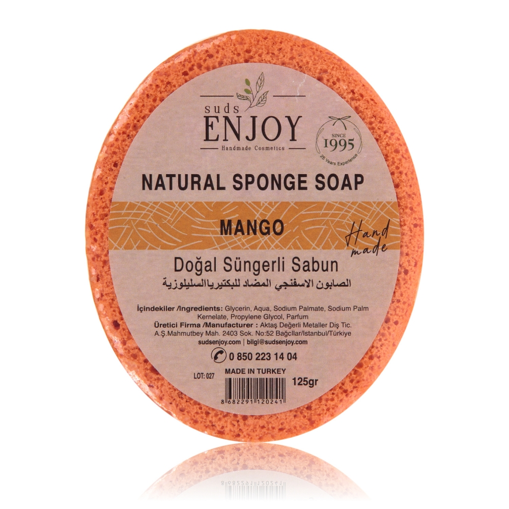 Natural Mango Handmade Sponge Shower Soap