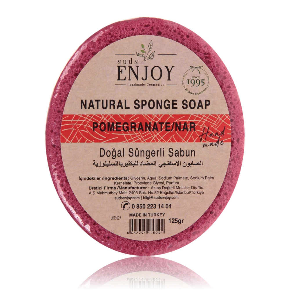 Natural Pomegranate Handmade Sponge Shower Soap