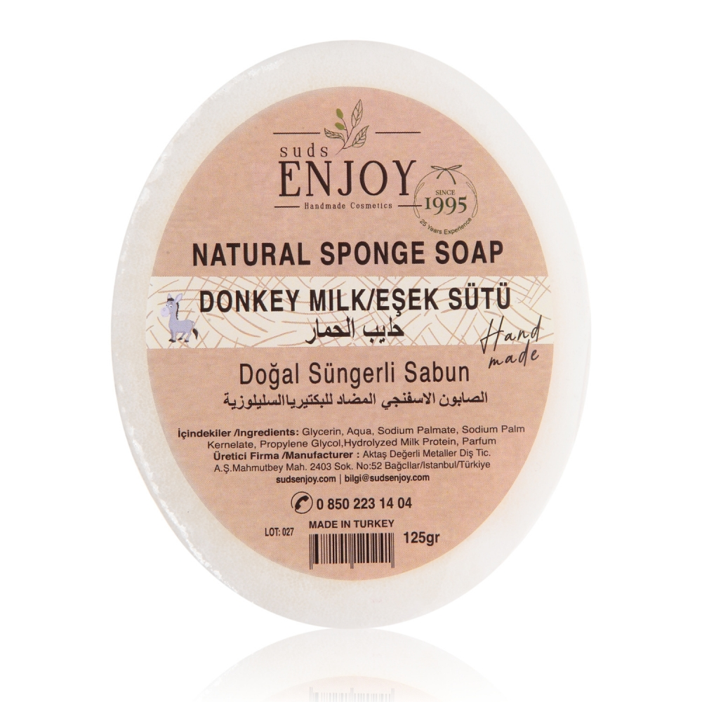 Natural Donkey Milk Handmade Sponge Shower Soap